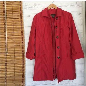 Eddie Bauer Rain Coat Button Up Spring Jacket Line